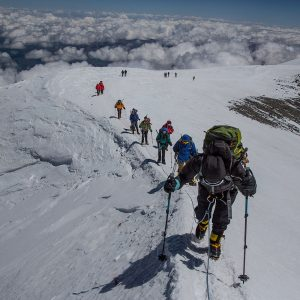 Climbing the summit ridge