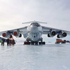 The Transport Plane to Antarctica on Blue Ice Runway