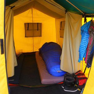 Inside of your personal base camp tent