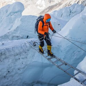 Crossing a ladder in the Icefall